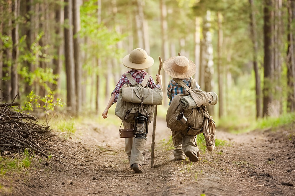 Backpack Rain Cover - Two Boys on a Forest Road with Backpacks