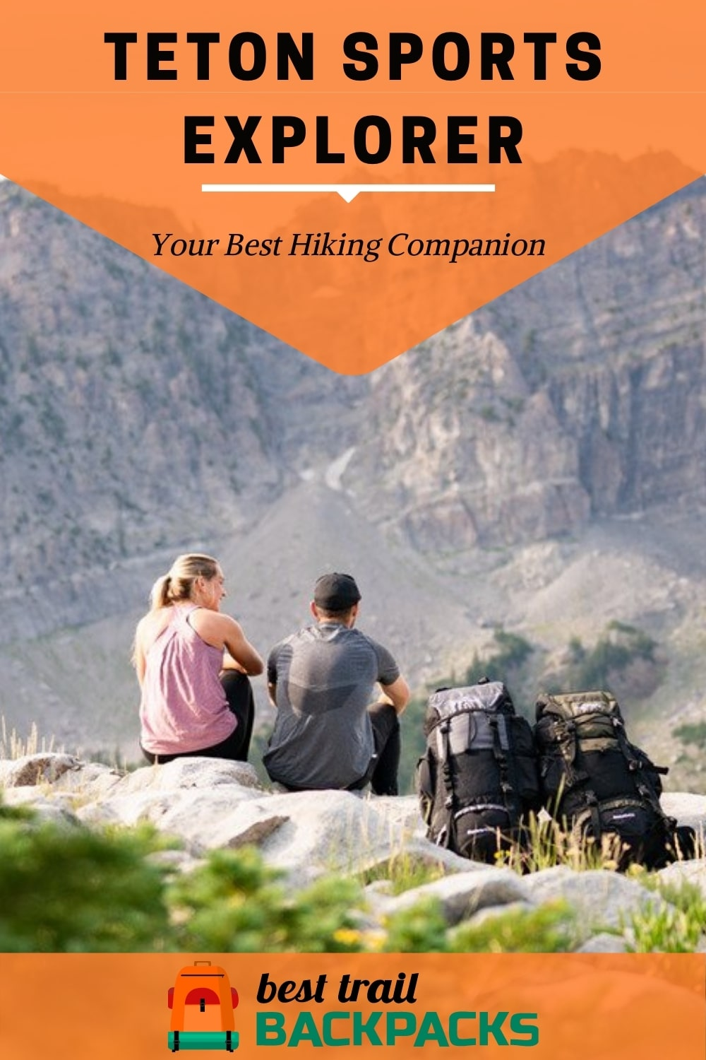Teton Sports Explorer Review - A Couple Sitting by a Cliff with their Backpacks