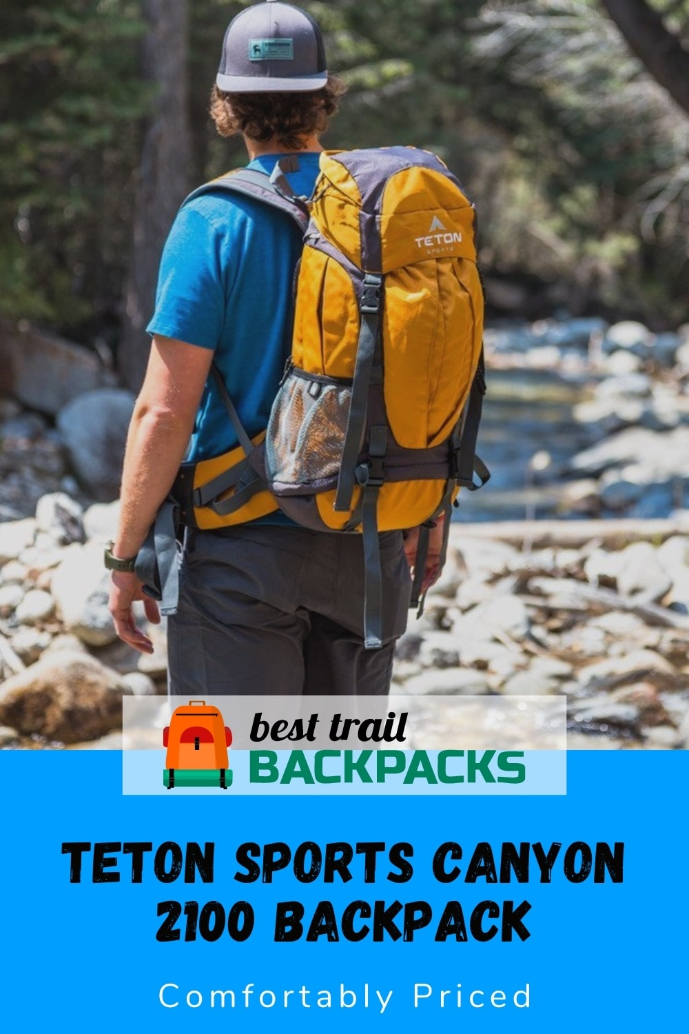 Teton Sports Canyon 2100 Backpack Review - Hiker with Backpack Standing Near a Stream